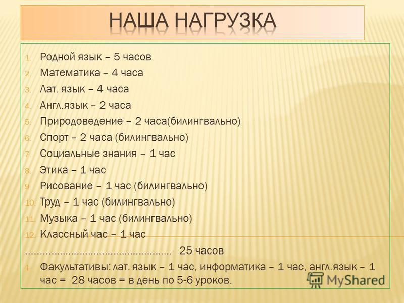 1. Родной язык – 5 часов 2. Математика – 4 часа 3. Лат. язык – 4 часа 4. Англ.язык – 2 часа 5. Природоведение – 2 часа(билингвально) 6. Спорт – 2 часа (билингвально) 7. Социальные знания – 1 час 8. Этика – 1 час 9. Рисование – 1 час (билингвально) 10