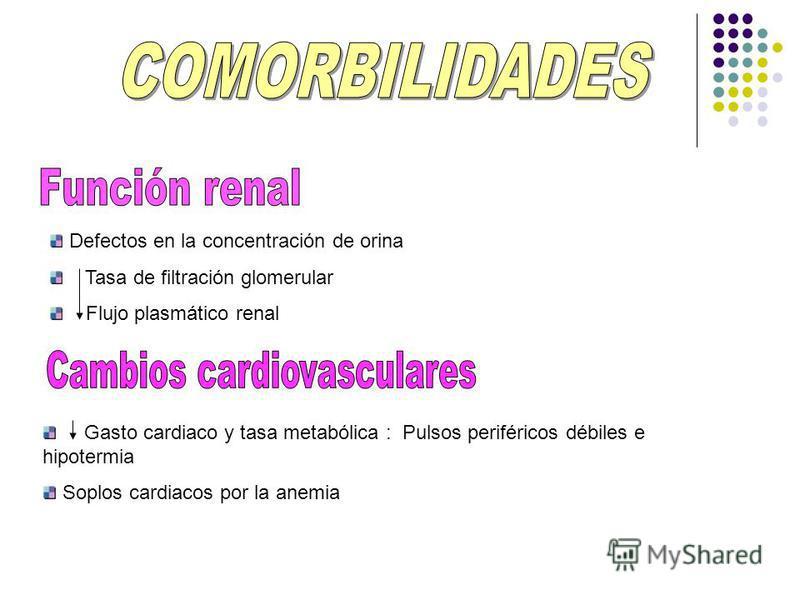 Defectos en la concentración de orina Tasa de filtración glomerular Flujo plasmático renal Gasto cardiaco y tasa metabólica : Pulsos periféricos débiles e hipotermia Soplos cardiacos por la anemia