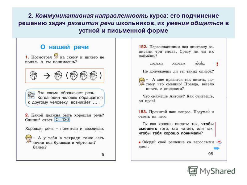 2. Коммуникативная направленность курса: его подчинение решению задач развития речи школьников, их умения общаться в устной и письменной форме