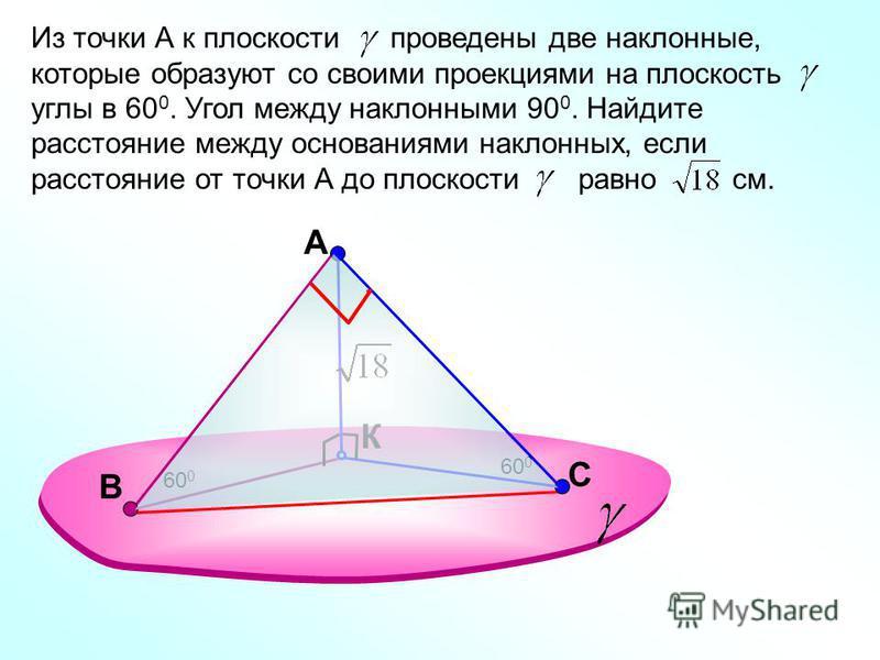 A К Из точки А к плоскости проведены две наклонные, которые образуют со своими проекциями на плоскость углы в 60 0. Угол между наклонными 90 0. Найдите расстояние между основаниями наклонных, если расстояние от точки А до плоскости равно см. 60 0 С В