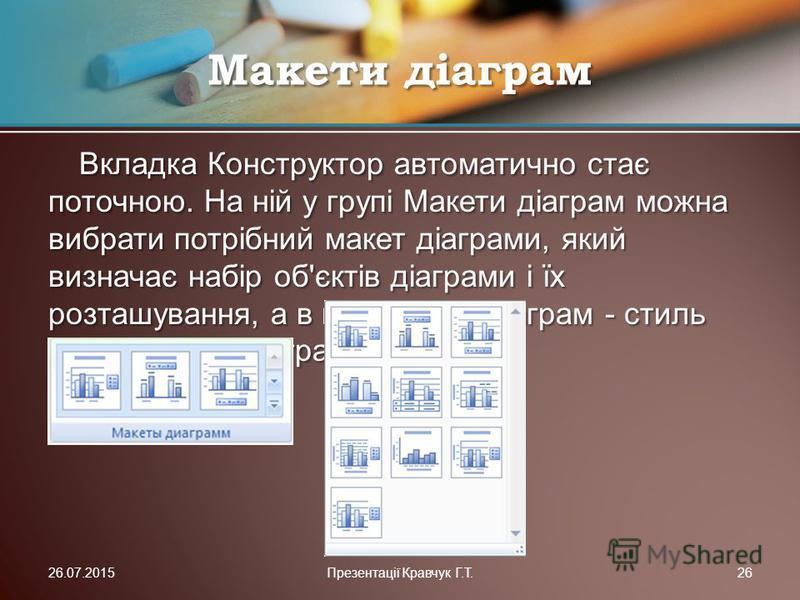 Вкладка Конструктор автоматично стає поточною. На ній у групі Макети діаграм можна вибрати потрібний макет діаграми, який визначає набір об'єктів діаграми і їх розташування, а в групі Стилі діаграм - стиль оформлення діаграми. Макети діаграм 26.07.20