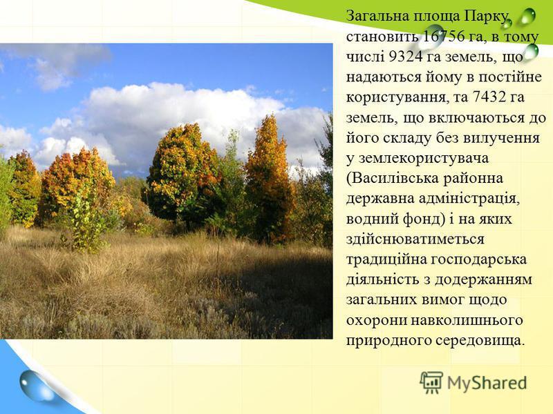 Загальна площа Парку становить 16756 га, в тому числі 9324 га земель, що надаються йому в постійне користування, та 7432 га земель, що включаються до його складу без вилучення у землекористувача (Василівська районна державна адміністрація, водний фон
