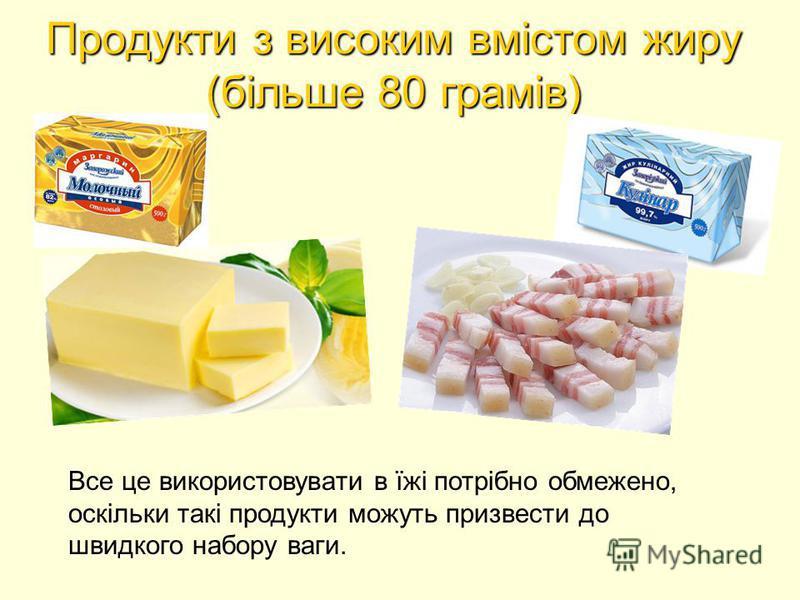 Продукти з високим вмістом жиру (більше 80 грамів) Все це використовувати в їжі потрібно обмежено, оскільки такі продукти можуть призвести до швидкого набору ваги.
