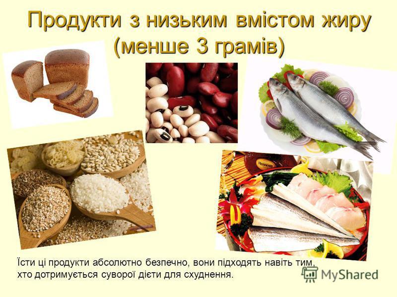 Продукти з низьким вмістом жиру (менше 3 грамів) Їсти ці продукти абсолютно безпечно, вони підходять навіть тим, хто дотримується суворої дієти для схуднення.
