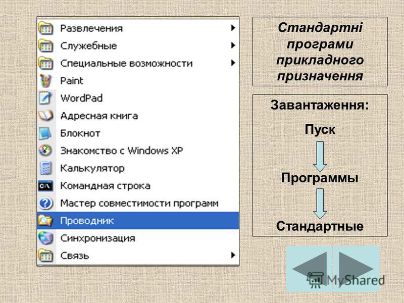 Стандартні програми прикладного призначення Завантаження: Пуск Программы Стандартные