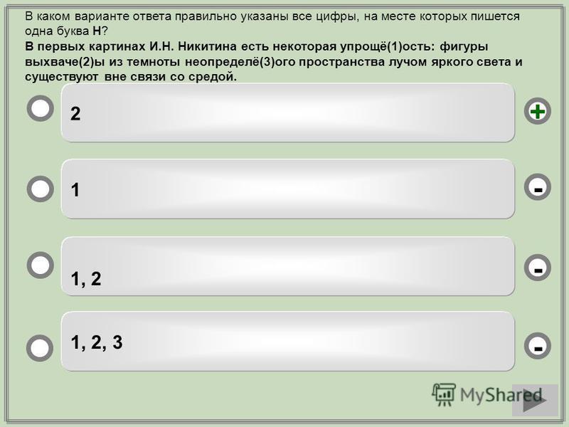 2 1 1, 2 1, 2, 3 - - + - В каком варианте ответа правильно указаны все цифры, на месте которых пишется одна буква Н? В первых картинах И.Н. Никитина есть некоторая упрощё(1)ость: фигуры выхваче(2)ы из темноты неопределё(3)ого пространства лучом ярког