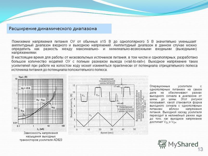 Расширение динамического диапазона 13 Понижение напряжения питания ОУ от обычных ±15 В до однополярного 5 В значительно уменьшает амплитудный диапазон входного и выходною напряжений. Амплитудный диапазон в данном случае можно определить как разность