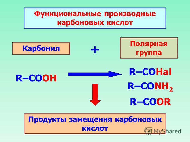 Функциональные производные карбоновых кислот Карбонил + Полярная группа Продукты замещения карбоновых кислот R–COOH R–COOR R–CONH 2 R–COHal