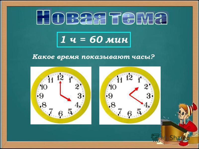 1 ч = 60 мин Какое время показывают часы?
