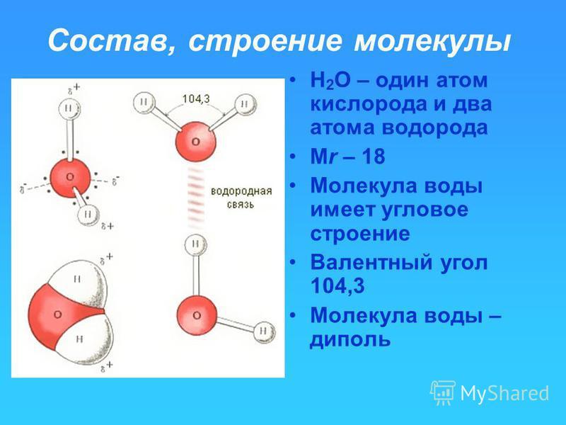 Состав, строение молекулы Н 2 О – один атом кислорода и два атома водорода Мr – 18 Молекула воды имеет угловое строение Валентный угол 104,3 Молекула воды – диполь