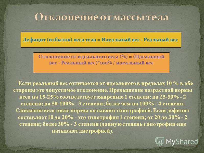 Дефицит (избыток) веса тела = Идеальный вес - Реальный вес Отклонение от идеального веса (%) = (Идеальный вес - Реальный вес)*100% / идеальный вес Если реальный вес отличается от идеального в пределах 10 % в обе стороны это допустимое отклонение. Пре