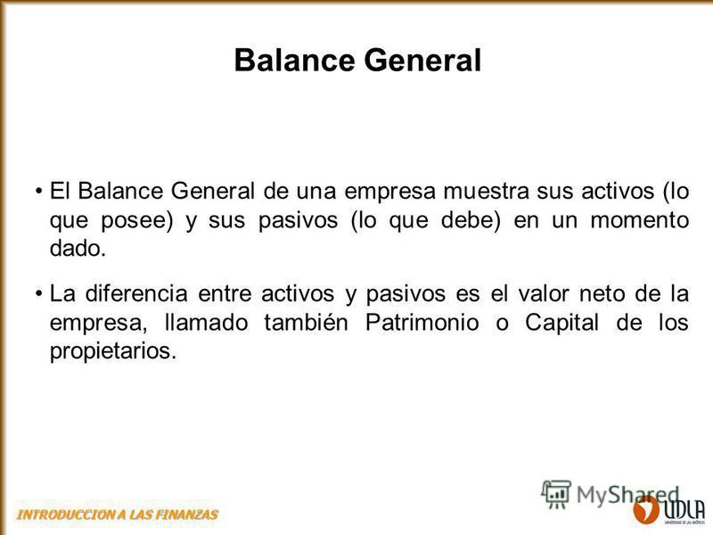 Balance General El Balance General de una empresa muestra sus activos (lo que posee) y sus pasivos (lo que debe) en un momento dado. La diferencia entre activos y pasivos es el valor neto de la empresa, llamado también Patrimonio o Capital de los pro