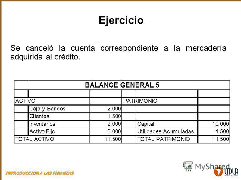Se canceló la cuenta correspondiente a la mercadería adquirida al crédito. Ejercicio