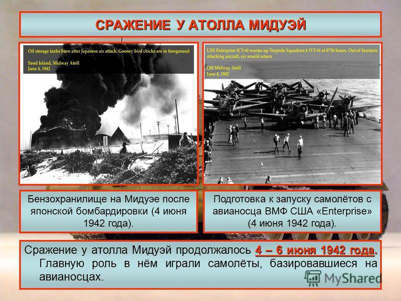 СРАЖЕНИЕ У АТОЛЛА МИДУЭЙ 4 – 6 июня 1942 года. Сражение у атолла Мидуэй продолжалось 4 – 6 июня 1942 года. Главную роль в нём играли самолёты, базировавшиеся на авианосцах. Бензохранилище на Мидуэе после японской бомбардировки (4 июня 1942 года). Под