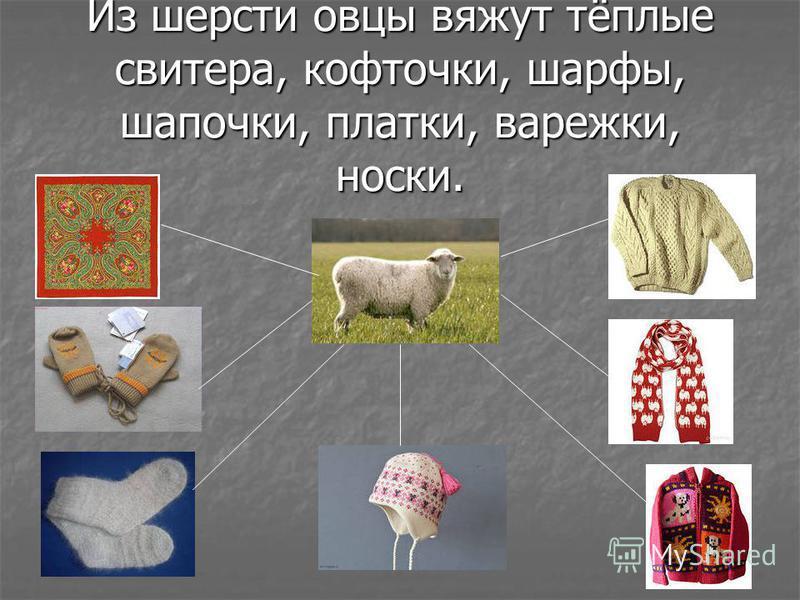 Из шерсти овцы вяжут тёплые свитера, кофточки, шарфы, шапочки, платки, варежки, носки.