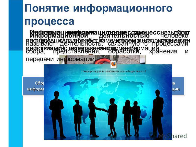 Понятие информационного процесса Информационными процессами называют процессы, связанные с изменением информации или действиями с использованием информации. Просмотр телепередач Чтение книг Разговор по телефону Запись в блокноте Основные информационн