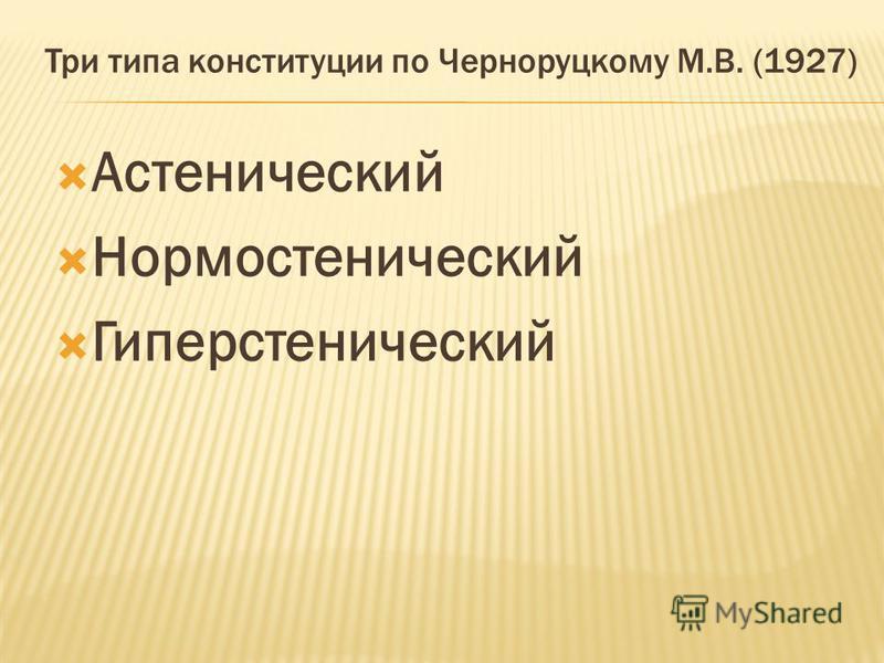 Три типа конституции по Черноруцкому М.В. (1927) Астенический Нормостенический Гиперстенический