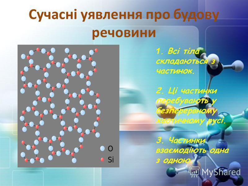 Сучасні уявлення про будову речовини 1. Всі тіла складаються з частинок. 2. Ці частинки перебувають у безперервному хаотичному русі. 3. Частинки взаємодіють одна з одною.