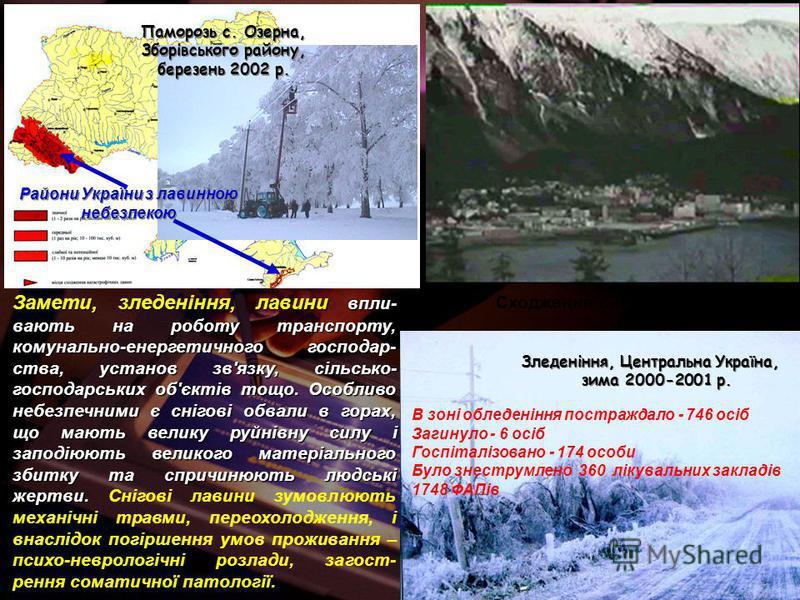 Сходження снігової лавини Замети, зледеніння, лавини впли- вають на роботу транспорту, комунально-енергетичного господар- ства, установ зв'язку, сільсько- господарських об'єктів тощо. Особливо небезпечними є снігові обвали в горах, що мають велику ру