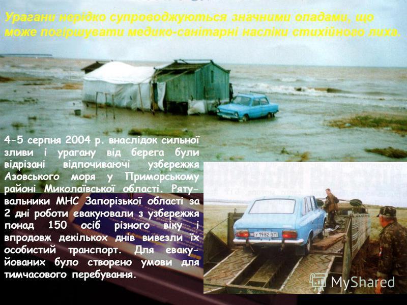 Урагани нерідко супроводжуються значними опадами, що може погіршувати медико-санітарні насліки стихійного лиха. 4-5 серпня 2004 р. внаслідок сильної зливи і урагану від берега були відрізані відпочиваючі узбережжя Азовського моря у Приморському район
