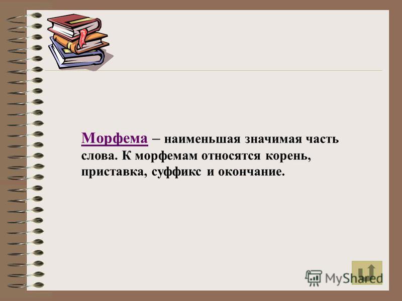Морфема – наименьшая значимая часть слова. К морфемам относятся корень, приставка, суффикс и окончание.