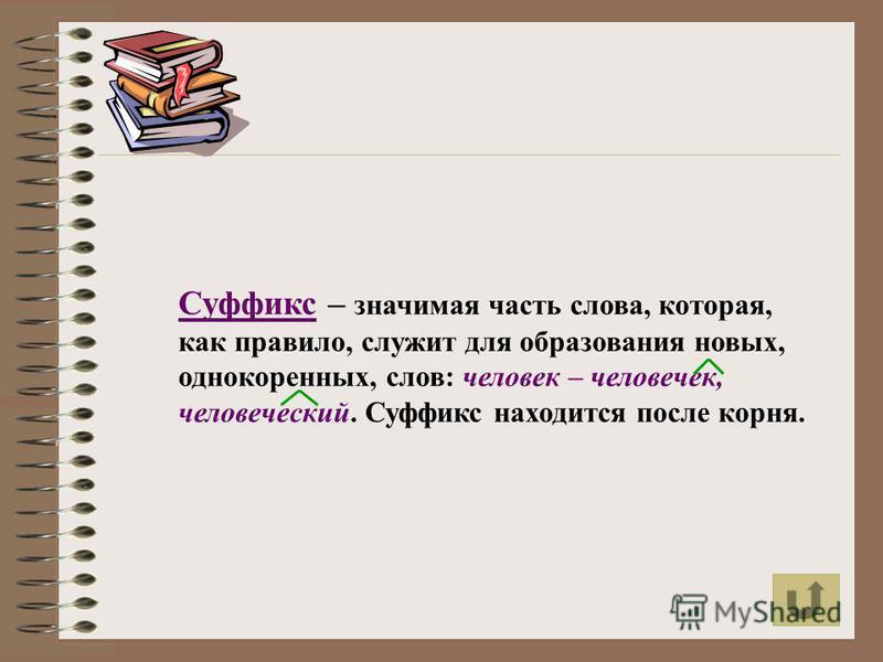 Суффикс – значимая часть слова, которая, как правило, служит для образования новых, однокоренных, слов: человек – человечек, человеческий. Суффикс находится после корня.