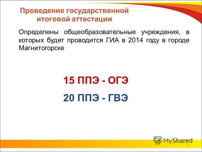 Проведение государственной итоговой аттестации Определены общеобразовательные учреждения, в которых будет проводится ГИА в 2014 году в городе Магнитогорске 24 15 ППЭ - ОГЭ 20 ППЭ - ГВЭ