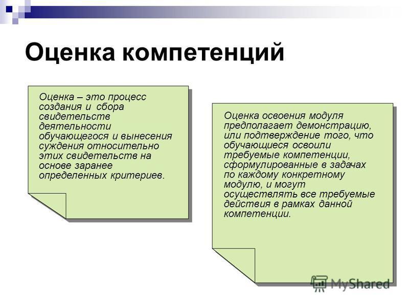 Оценка компетенций Оценка – это процесс создания и сбора свидетельств деятельности обучающегося и вынесения суждения относительно этих свидетельств на основе заранее определенных критериев. Оценка освоения модуля предполагает демонстрацию, или подтве