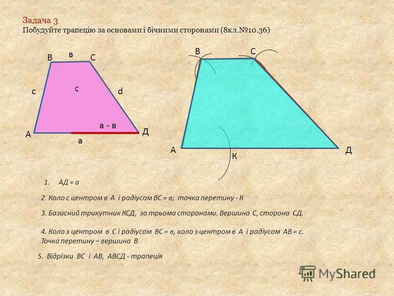 Задача 3 Побудуйте трапецію за основами і бічними сторонами (8кл.10.36) с а в d c а - в АД К СВ 1.АД = а 2. Коло с центром в А і радіусом ВС = в; точка перетину - К 3. Базисний трикутник КСД, за трьома сторонами. Вершина С, сторона СД. 4. Коло з цент