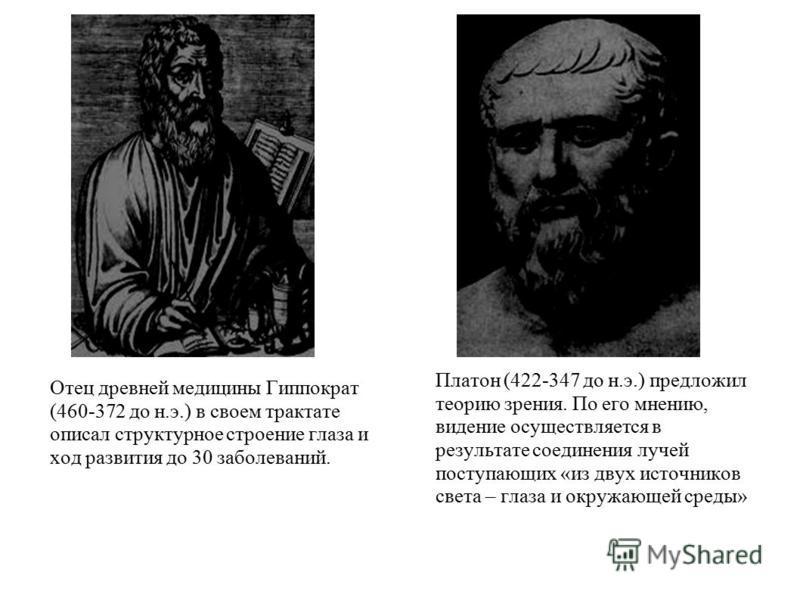 Отец древней медицины Гиппократ (460-372 до н.э.) в своем трактате описал структурное строение глаза и ход развития до 30 заболеваний. Платон (422-347 до н.э.) предложил теорию зрения. По его мнению, видение осуществляется в результате соединения луч