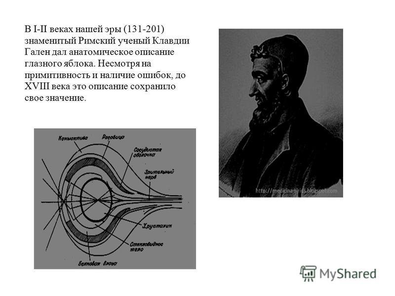 В I-II веках нашей эры (131-201) знаменитый Римский ученый Клавдии Гален дал анатомическое описание глазного яблока. Несмотря на примитивность и наличие ошибок, до XVIII века это описание сохранило свое значение.