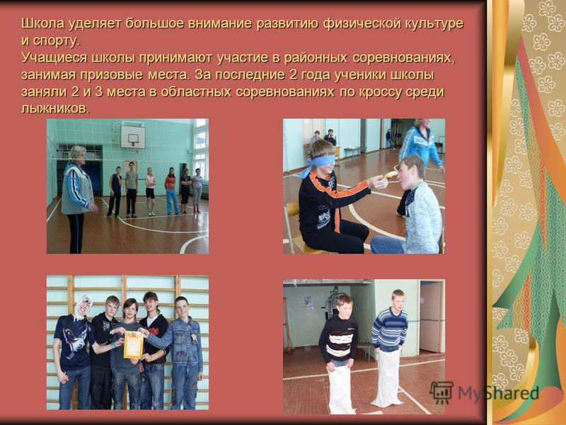 Школа уделяет большое внимание развитию физической культуре и спорту. Учащиеся школы принимают участие в районных соревнованиях, занимая призовые места. За последние 2 года ученики школы заняли 2 и 3 места в областных соревнованиях по кроссу среди лы