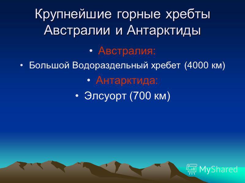Крупнейшие горные хребты Австралии и Антарктиды Австралия: Большой Водораздельный хребет (4000 км) Антарктида: Элсуорт (700 км)