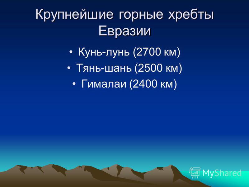 Крупнейшие горные хребты Евразии Кунь-лунь (2700 км) Тянь-шань (2500 км) Гималаи (2400 км)