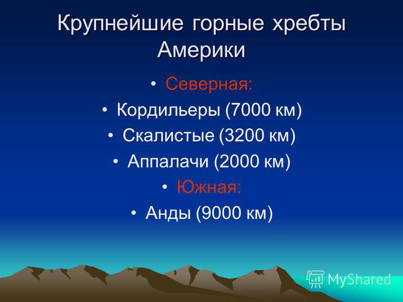 Крупнейшие горные хребты Америки Северная: Кордильеры (7000 км) Скалистые (3200 км) Аппалачи (2000 км) Южная: Анды (9000 км)