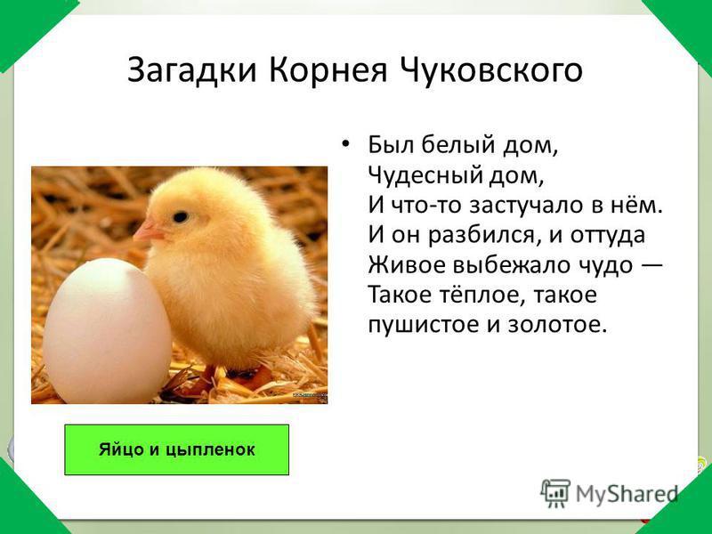 Загадки Корнея Чуковского Был белый дом, Чудесный дом, И что-то застучало в нём. И он разбился, и оттуда Живое выбежало чудо Такое тёплое, такое пушистое и золотое. Яйцо и цыпленок