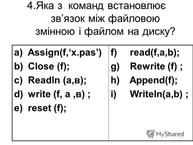4.Яка з команд встановлює звязок між файловою змінною і файлом на диску? a) Assign(f,х.pas) b) Close (f); c) Readln (a,в); d) write (f, a,в) ; e) reset (f); f) read(f,a,b); g) Rewrite (f) ; h) Append(f); i) Writeln(a,b) ;