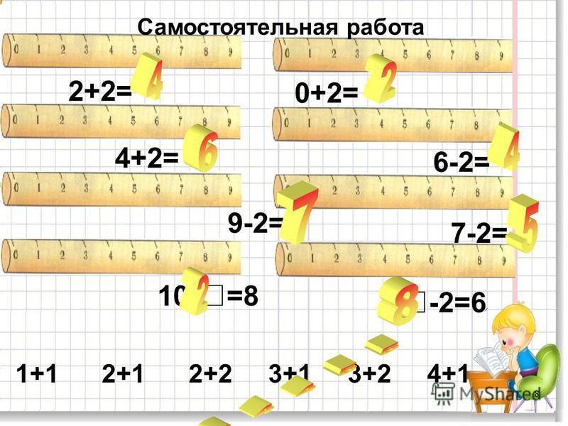 8 2+2= 0+2= 4+2= 6-2= 9-2= 7-2= 10-=8 -2=6 Самостоятельная работа 1+1 2+1 2+2 3+1 3+2 4+1