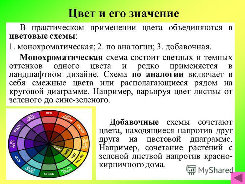 Цвет и его значение В практическом применении цвета объединяются в цветовые схемы: 1. монохроматическая; 2. по аналогии; 3. добавочная. Монохроматическая схема состоит светлых и темных оттенков одного цвета и редко применяется в ландшафтном дизайне.