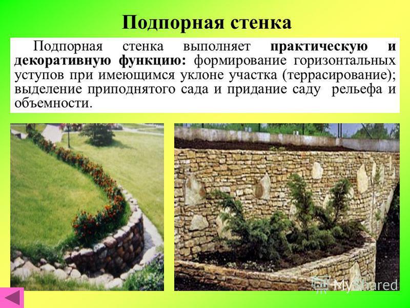 Подпорная стенка Подпорная стенка выполняет практическую и декоративную функцию: формирование горизонтальных уступов при имеющимся уклоне участка (террасирование); выделение приподнятого сада и придание саду рельефа и объемности.