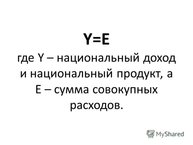 Y=E где Y – национальный доход и национальный продукт, а E – сумма совокупных расходов.