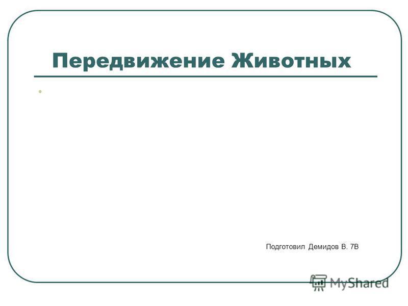 Передвижение Животных Подготовил Демидов В. 7В