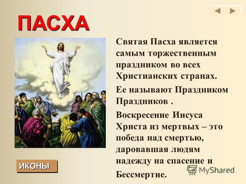 ПАСХА Святая Пасха является самым торжественным праздником во всех Христианских странах. Ее называют Праздником Праздников. Воскресение Иисуса Христа из мертвых – это победа над смертью, даровавшая людям надежду на спасение и Бессмертие. ИКОНЫ