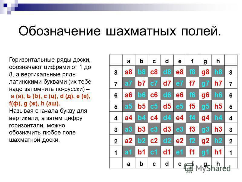Обозначение шахматных полей. abcdefgh 8 а 8b8c8d8e8f8g8h8 8 7 а 7b7c7d7e7f7g7h7 7 6 а 6b6c6d6e6f6g6h6 6 5 а 5b5c5d5e5f5g5h5 5 4 а 4b4c4d4e4f4g4h4 4 3 а 3b3c3d3e3f3g3h3 3 2 а 2b2c2d2e2f2g2h2 2 1 а 1b1c1d1e1f1g1h1 1 abcdefgh Горизонтальные ряды доски,