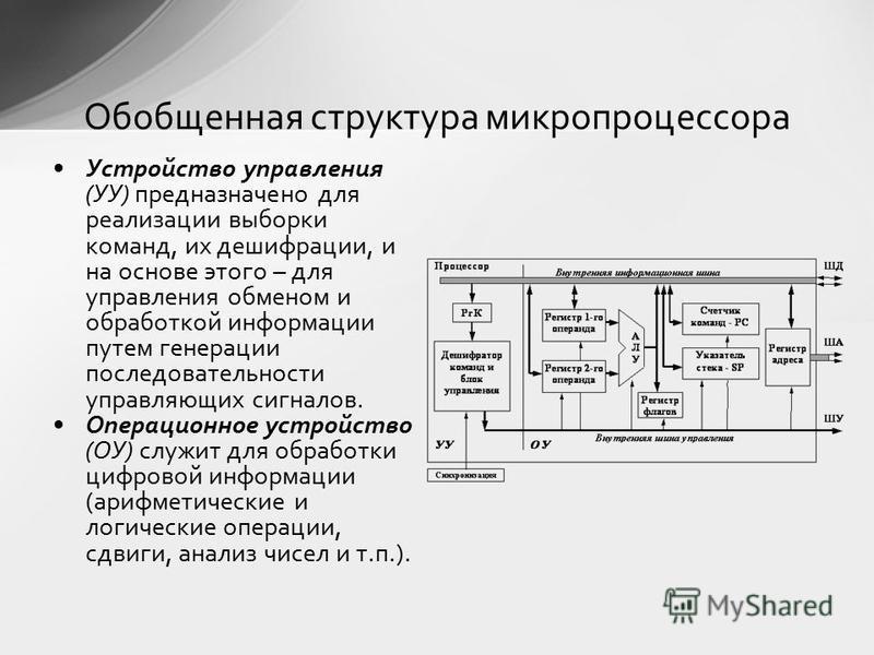 Устройство управления (УУ) предназначено для реализации выборки команд, их дешифрации, и на основе этого – для управления обменом и обработкой информации путем генерации последовательности управляющих сигналов. Операционное устройство (ОУ) служит для