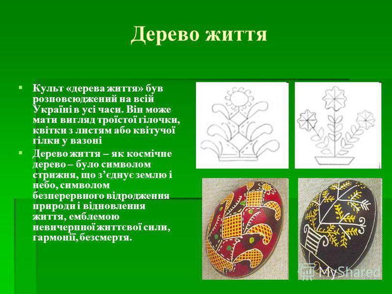 Дерево життя Культ «дерева життя» був розповсюджений на всій Україні в усі часи. Він може мати вигляд троїстої гілочки, квітки з листям або квітучої гілки у вазоні Дерево життя – як космічне дерево – було символом стрижня, що зєднує землю і небо, сим