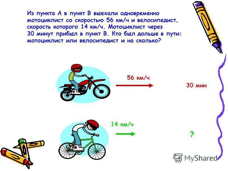 Из пункта А в пункт В выехали одновременно мотоциклист со скоростью 56 км/ч и велосипедист, скорость которого 14 км/ч. Мотоциклист через 30 минут прибыл в пункт В. Кто был дольше в пути: мотоциклист или велосипедист и на сколько? 56 км/ч 14 км/ч 30 м