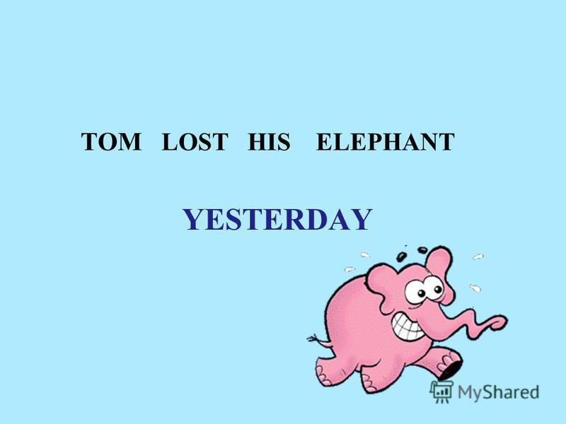TOM LOST HIS ELEPHANT YESTERDAY