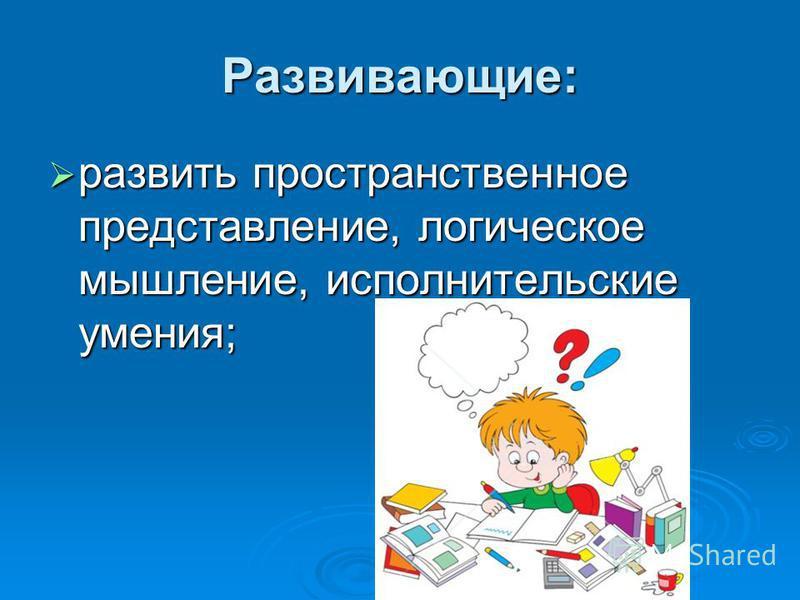 Развивающие: развить пространственное представление, логическое мышление, исполнительские умения; развить пространственное представление, логическое мышление, исполнительские умения;
