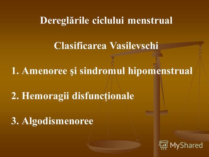 Dereglările ciclului menstrual Clasificarea Vasilevschi 1.Amenoree şi sindromul hipomenstrual 2.Hemoragii disfuncţionale 3.Algodismenoree